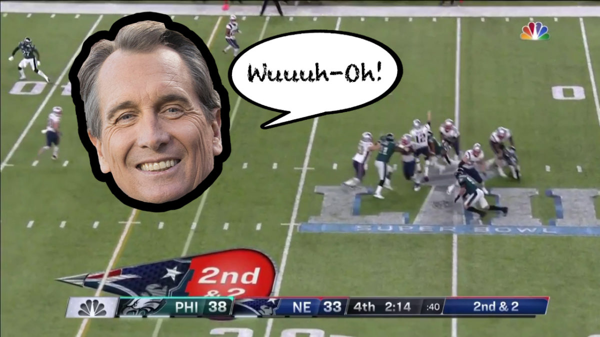 Cris Collinsworth saying 'Wuuuuh-Oh!' when Tom Brady fumbles in Super Bowl 52