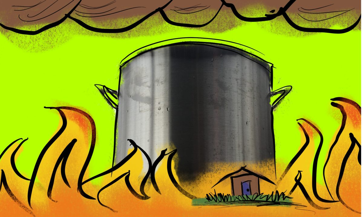 A big cartoony stockpot